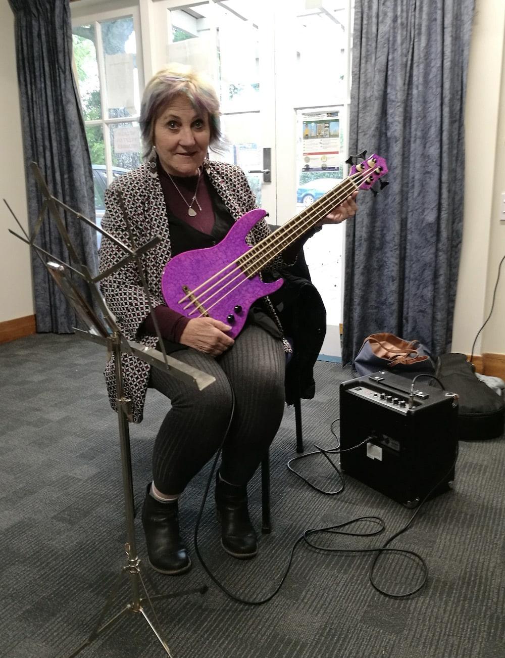 purple ukulele bass