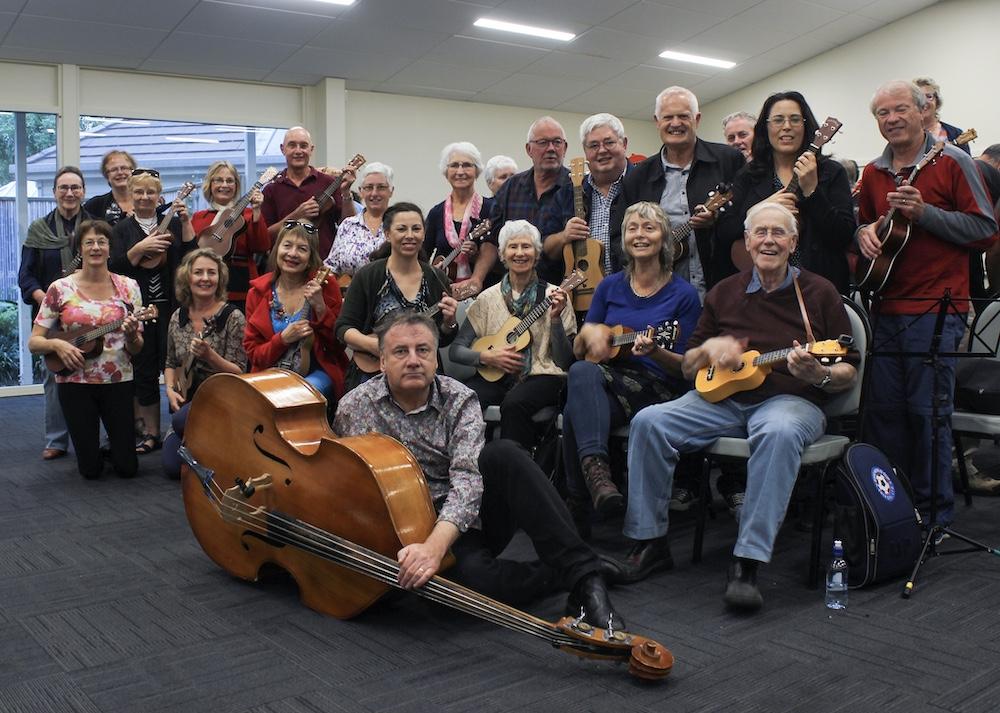 ukulele group with double bass
