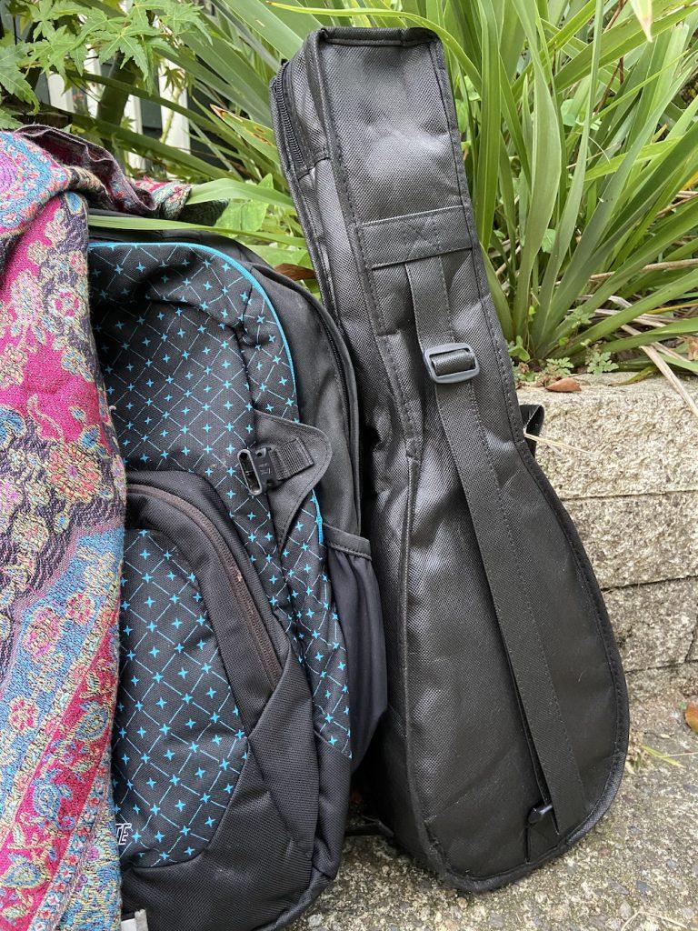Ukulele with backpack